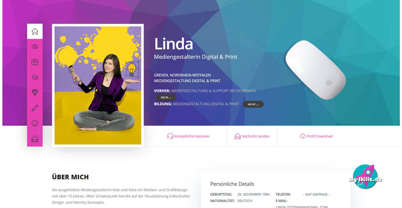 My Skillz | Webdesign für Bewerber | Beispiel Homepage
