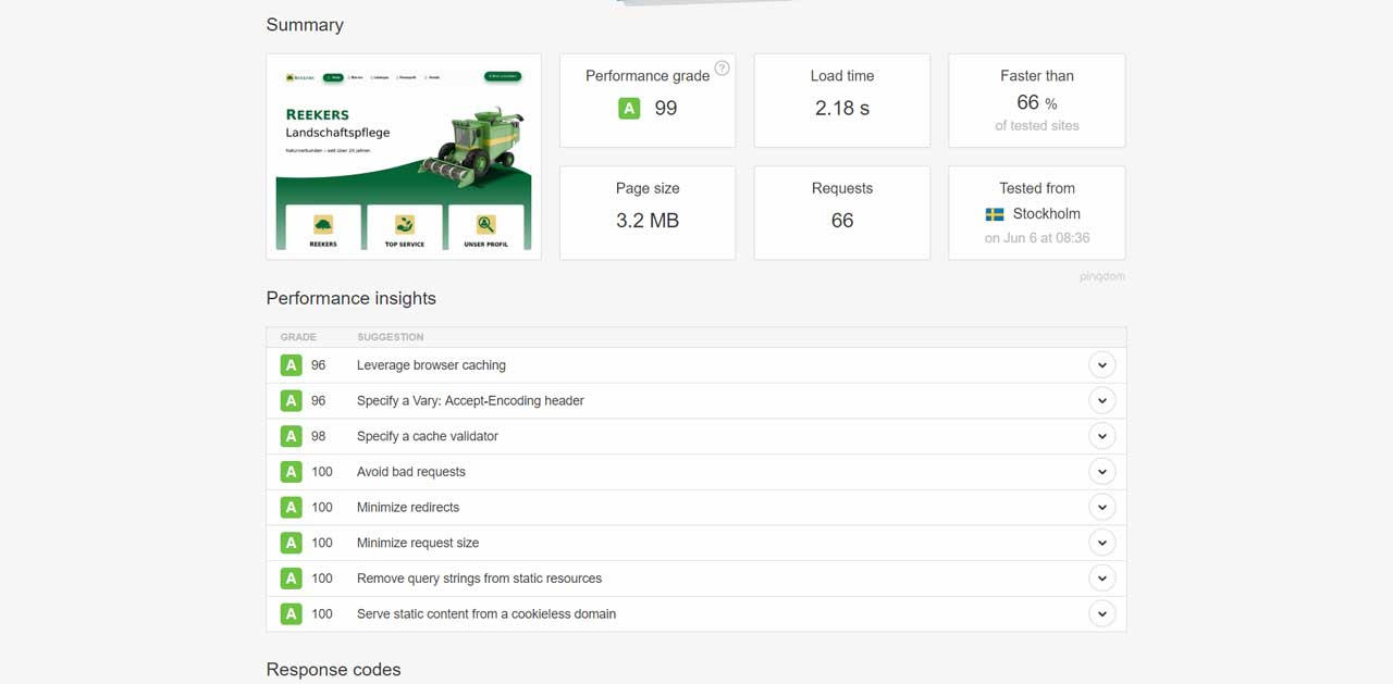 Reekers Online - Pingdom PageSpeed Test