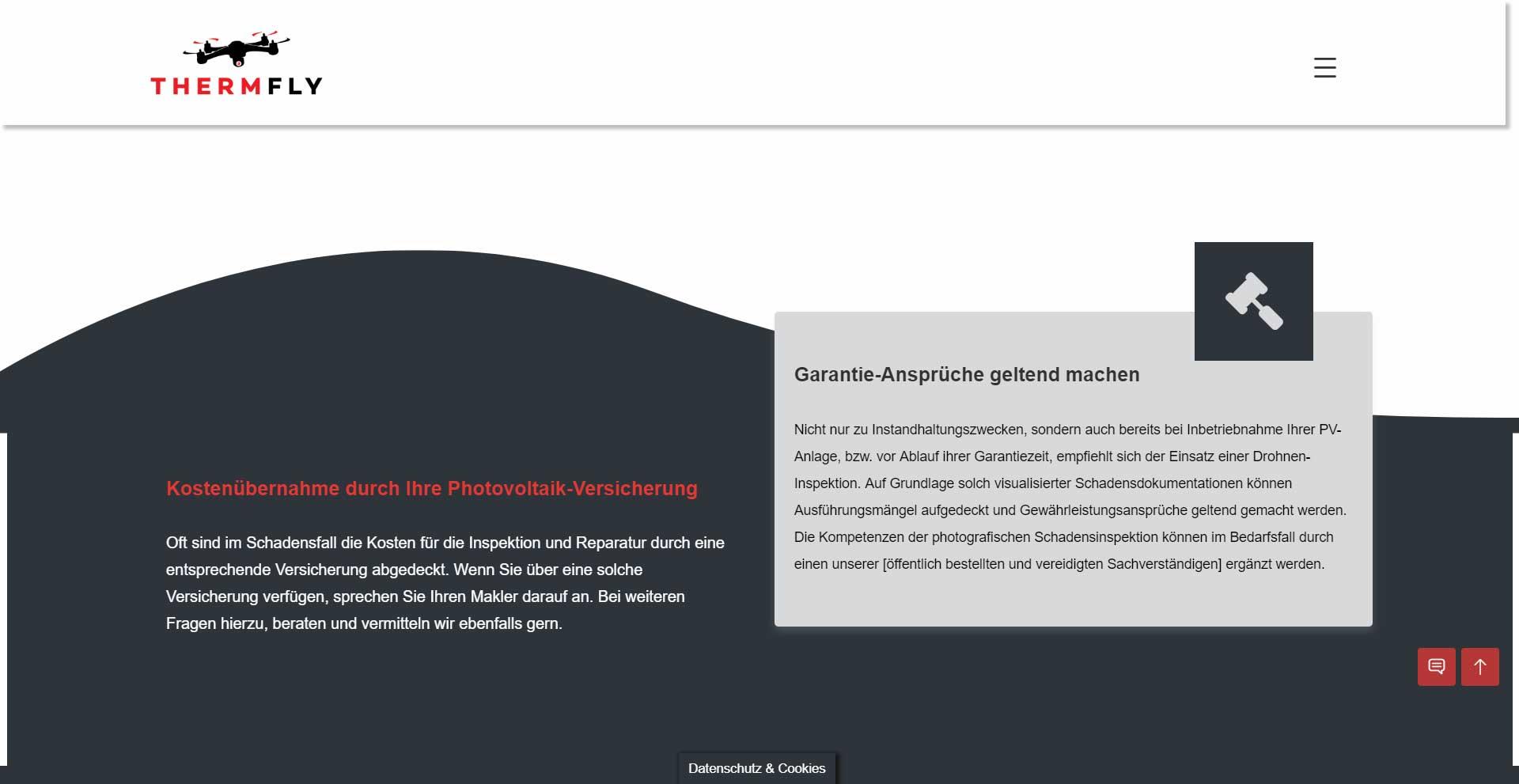 WordPress Webdesign Referenz - THERMFLY - Drohnen-Inspektion Photovoltaik